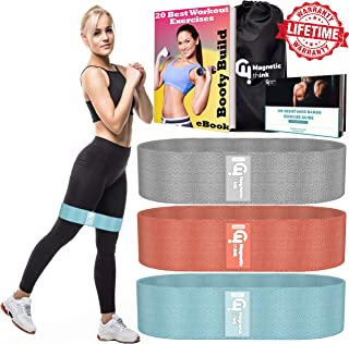 Booty Bands - Workout Resistance Bands for Legs and Butt - Non Slip Fabric Resistance Hip Band for Glute Activation, Made for Beginner, Intermediate and Professional Use
