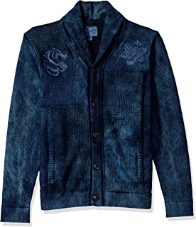 Lucky Brand Men's Embroidered Patchwork Indigo Shawl Sweater