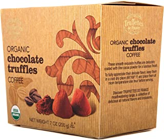 Organic Gourmet French Truffles - Coffee Infused | The Ultimate Cocoa-Dusted, Gourmet Chocolate Truffle for that Special Gift, or your own Guilt-Free Indulgence. Includes (1) 7oz Box. (Mocha)