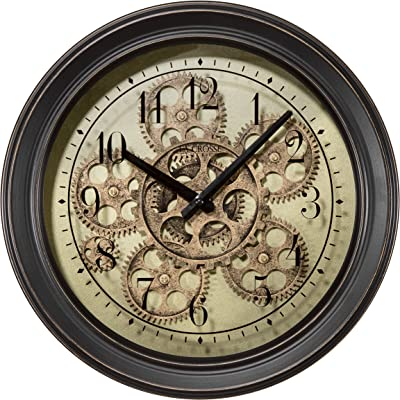 LaCrosse BBB85289 13 in. Metal Clock with Working Gears, Brown