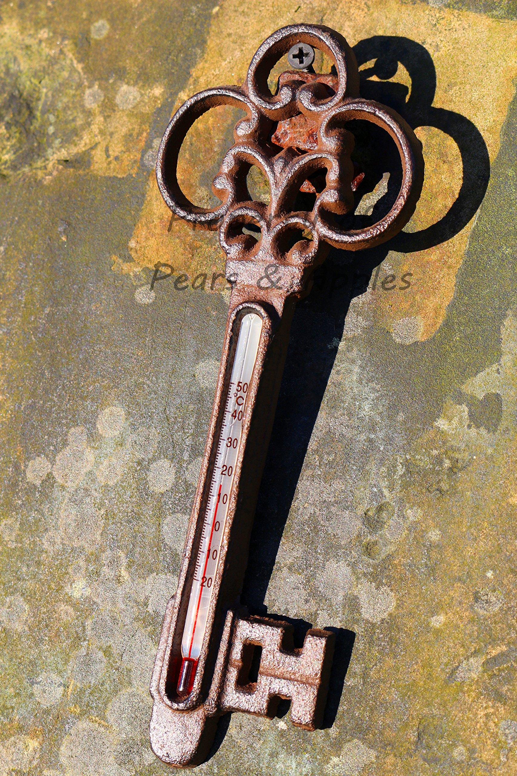 Termómetro en forma de llave, adorno de jardín, estilo informal chic, de hierro fundido: Amazon.es: Jardín