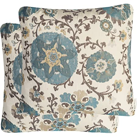 Amazon Com Mika Home Pack Of 2 Jacquard Circle Floral Throw Pillow Shell Vintage Cushion Cover For 20x20 Inserts Cream Blue Home Kitchen