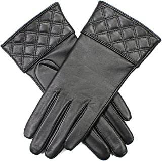 Dents Women's Leather Gloves With Quilted Cuff Detail And Fine Fleece Lining