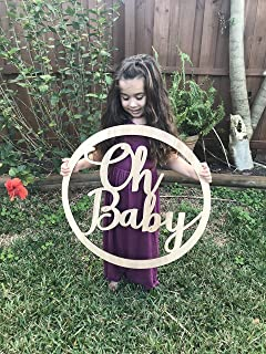 Oh Baby Announcement Sign - Oh Baby Sign - Baby Shower Photography Prop - Oh Baby Photo Prop - Laser Cut Natural Wood Baby Shower Sign
