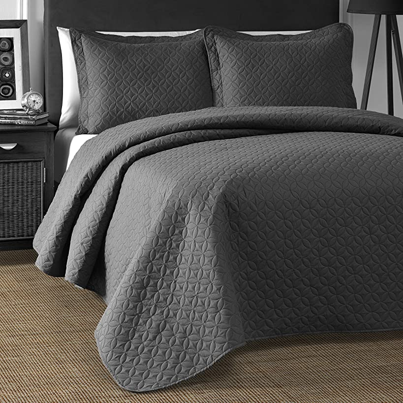 Comfy Bedding Extra Lightweight and Oversized Thermal Pressing Wedding Ring Circles 3-Piece Bedspread Coverlet Set (King/Cal King, Grey)