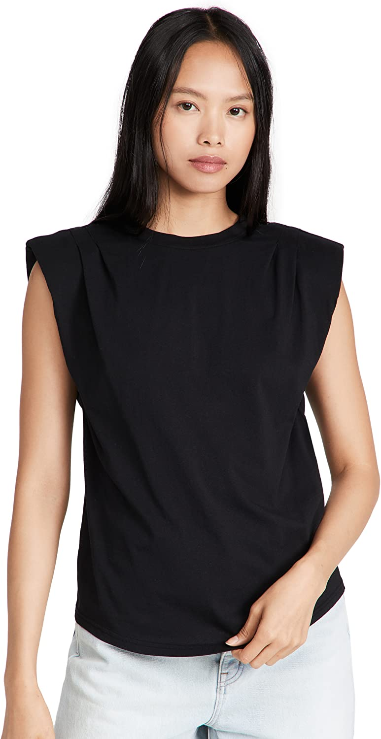 FRAME Women's Padded Muscle Tee High quality NEW before selling Shoulder