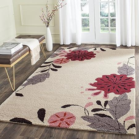Amazon Com Safavieh Martha Stewart Collection Msr4871a Handmade Picture Block Floral Wool Area Rug 9 X 12 Ivory Furniture Decor