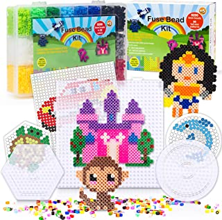5200 Fuse Bead Set for Kids 5mm 22 Colors 80 Full Size Patterns 3 Pegboards Ironing Paper Storage Case Perler Compatible Kit Best Christmas Gift