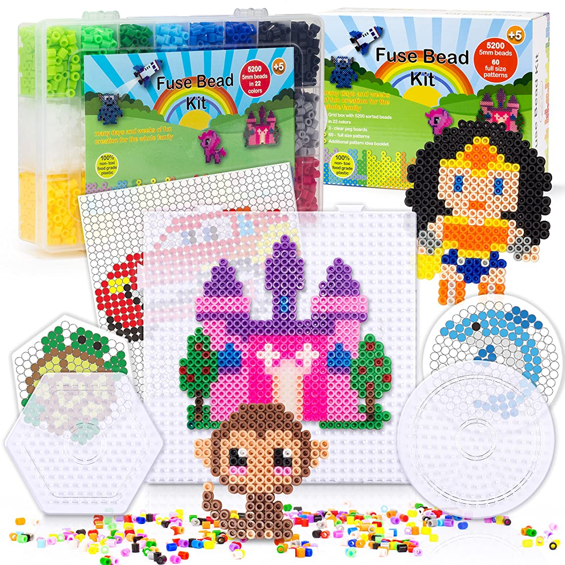 5200 Fuse Bead Set For Kids 5mm 22 Colors   60 Full Size Patterns 3 Pegboards Ironing Paper Storage Case Perler Beads Compatible Kit