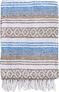 El Paso Designs Mexican Blanket Pastel Bloom Collection Yoga Classic Mexican Falsa Pattern Woven Throw 51in x 74in (Blue and Brown)