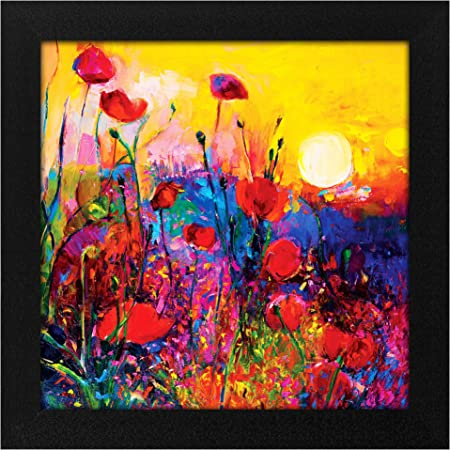 Story@Home Synthetic Wood Framed Nature Scenary Design 'Blooming Sunrise' Modern Wall Art Painting for Decorating Living Room, Bedroom, Drawing Room, Hall Ready to Hang (30 cm x 3 cm x 30 cm)