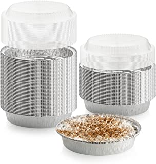 40-Pack of 7-Inch Round Foil Pans with 40 Dome Lids - Disposable Aluminum Foil Cake Trays - Freezer & Oven Safe - for Baking, Cooking, Storage & Reheating