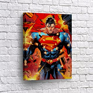 Superman is Under Fire Wall Art Canvas Print Comic Cartoon Art Super Hero Home Decor Decoration Stretched and Ready to Hang -%100 Hanmade in The USA - 12x8