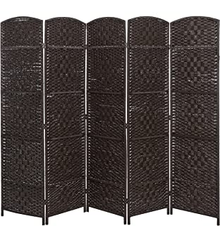 MyGift Handwoven Bamboo 5 Panel Partition Semi-Private Room Divider with Dual Hinges, Brown