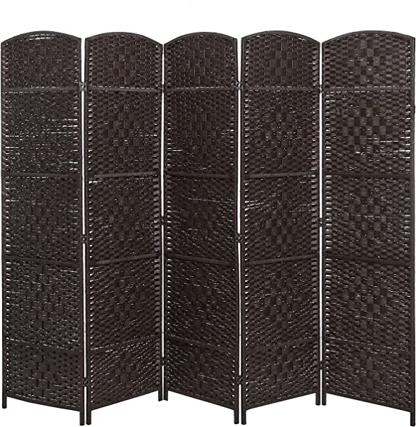 MyGift Handwoven Bamboo 5 Panel Partition Semi Private Room Divider With Dual Hinges Brown