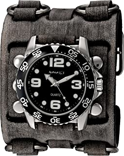 Men's 'Groovy Series' Quartz Stainless Steel and Leather Watch, Color:Black (Model: FWB097K)