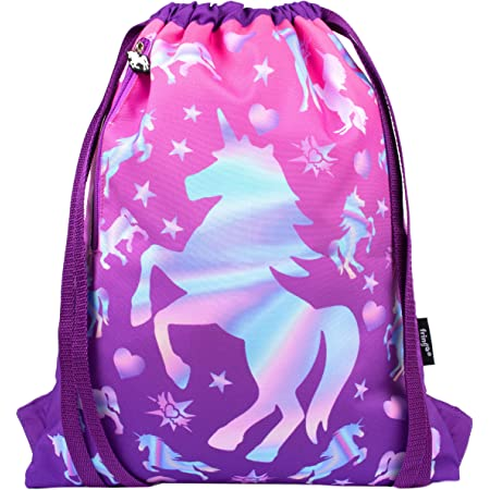 Drawstring Backpack Rainbow Unicorn Riding T Rex Gym Bag