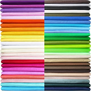 50 Pieces Multi-Colors Cotton Fabric Quilting Squares Bundles 100% Pure Cotton Precut Twill Solid Assorted Fabrics for Cra...
