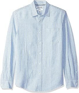 Amazon Essentials Men's Slim-Fit Long-Sleeve Linen Cotton Pattern Shirt