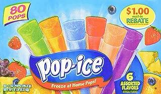 Pop-Ice Freezer Pops, Fat Free Ice Pops, Assorted Flavors (80 - 1 oz pops)