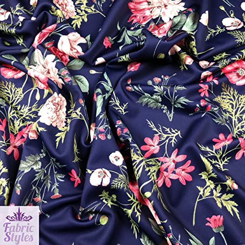f9a528a4ea5 FS101_2 Floral Print Navy Background High Quality Scuba Fabric