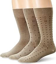 Chaps Men's Diamond Dress Crew Trouser Socks 3 Pair, khaki, Shoe Size: 6-12