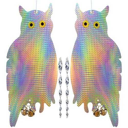 HOMESCAPE CREATIONS Owl Bird Repellent Control Scare Device - Holographic Reflective Woodpecker Deterrent with 12 inch