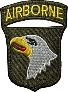 Papapatch 101st Airborne Screaming Eagle Shoulder Sign Badge Costume DIY Applique Embroidered Sew on Iron on Patch - Olive Drab (IRON-AIRB-EAGL-OD2)