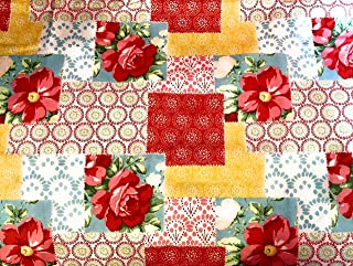 Farmhouse Patchwork Tiers or Curtain Panels 43 Inches Wide x 24 Inches Long or Choose 36, 45, 54, 63, 72, 84 Inches Long