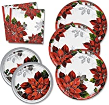 Christmas Plates and Napkins Set serves 50 includes 50 Paper Dinner Plates 50 Dessert Plates and 100 Luncheon Napkins for ...