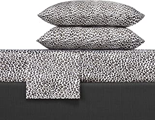 Betsey Johnson Betseys Leopard Satin Sheet Set, King, Charcoal