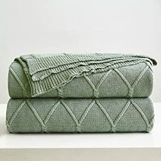 100% Cotton Green Cable Knit Throw Blanket for Couch, Sofa with Bonus Laundering Bag – Large 50 x 63 Thick, Extra Cozy, Machine Washable, Comfortable Home Decor