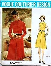 Vogue Couturier Design 2620 Misses 1970's Designer Dress Vintage Sewing Pattern Check Offers for Size Designer Mattli