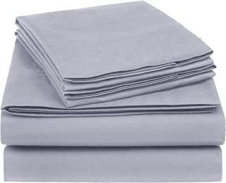 AmazonBasics Essential Cotton Blend Bed Sheet Set, Queen, Dark Grey