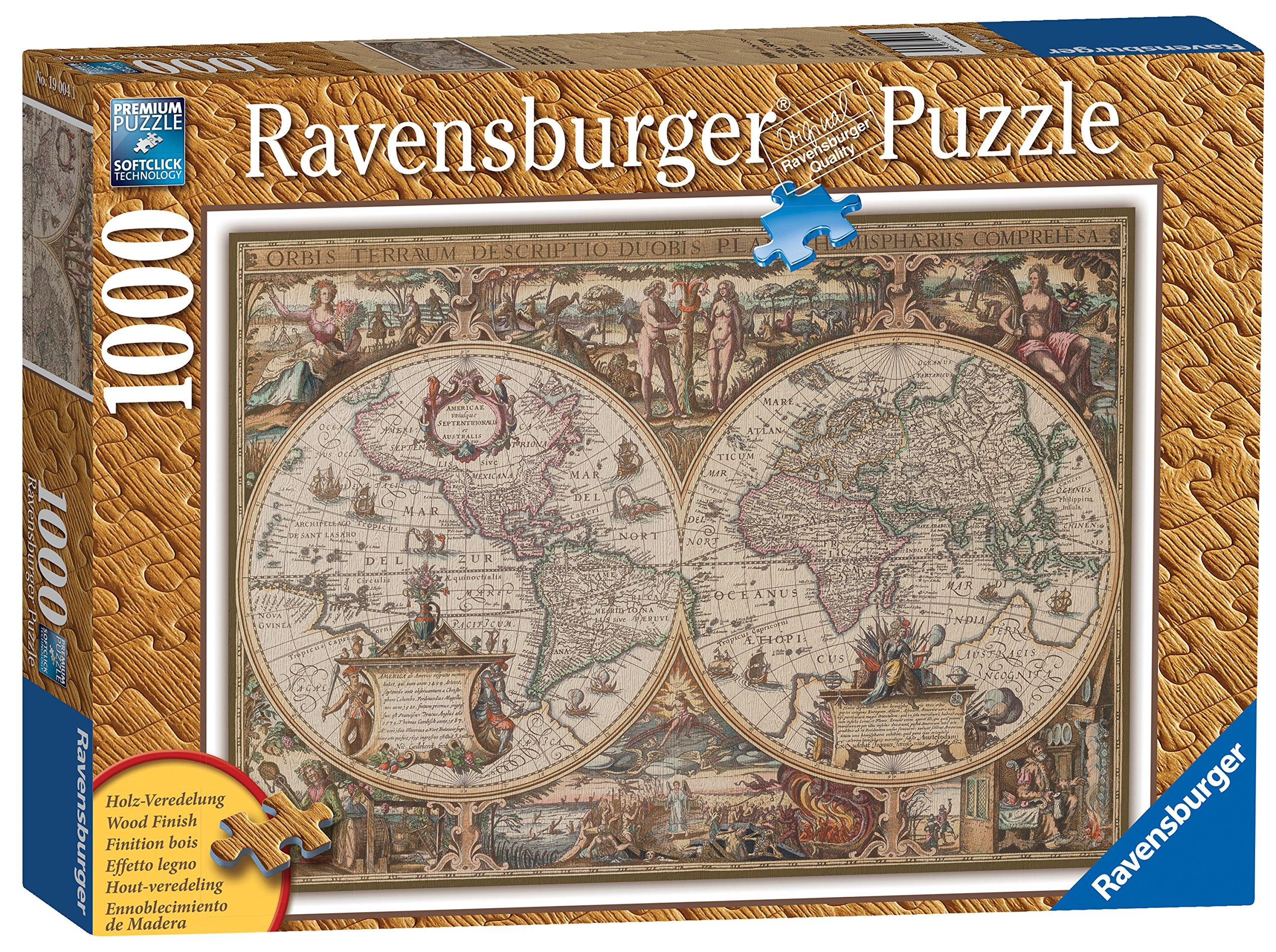 Ravensburger 19004 - Puzzle de 1000 piezas imitación madera, diseño de mapa del mundo antiguo: Amazon.es: Juguetes y juegos