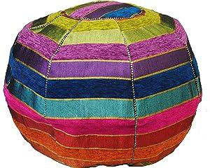 Terrapin Trading Marocaine Stripey Pouf/Repose-Pieds, Handwoven. Coton, Laine Cactus Sabra Soie. æMarrakech JazzÆ