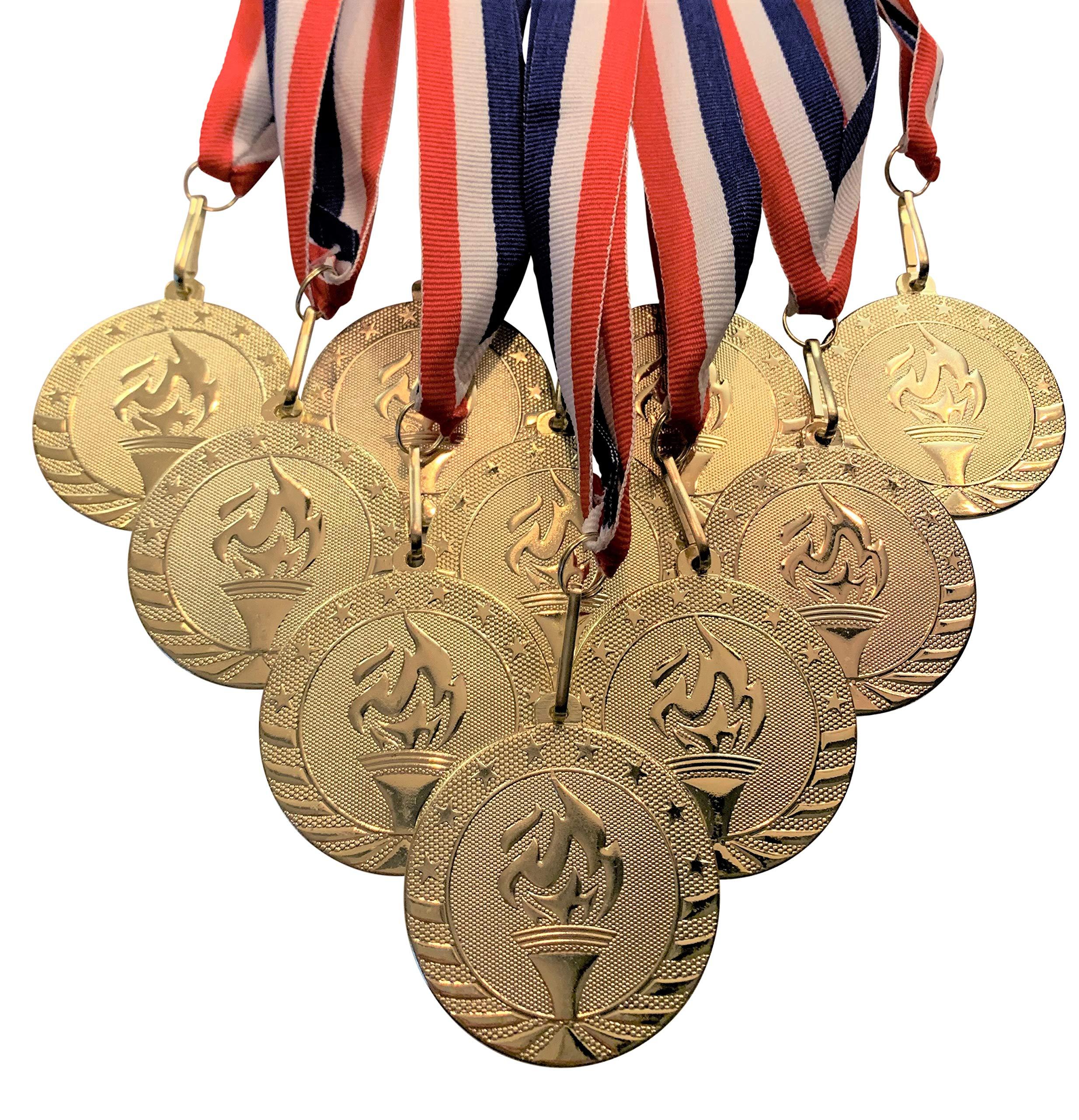 Express Medals Trofeo 1er Lugar medallas con Listones. Paquete de 10 Grandes 5.08 cm de Oro.: Amazon.es: Deportes y aire libre