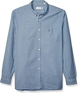 Lacoste Mens Long Sleeve Oxford Gingham Button Down Regular Fit Button Down Shirt