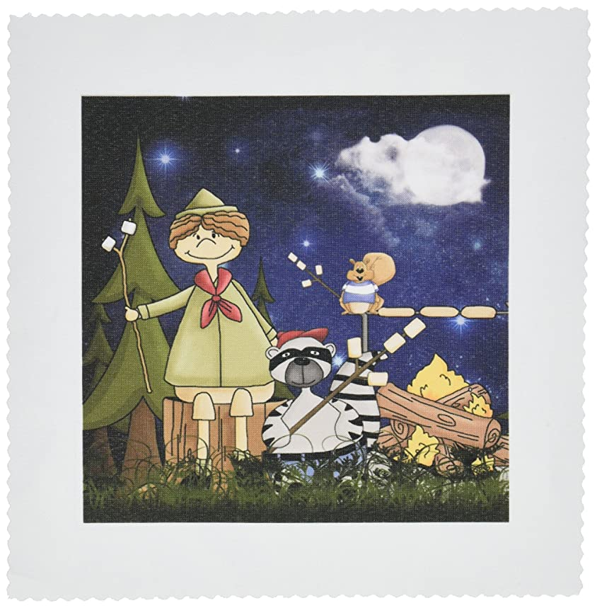 3dRose qs_101838_3 Boy Scout Camper in The Woods with a Squirrel and Marshmallows-Quilt Square, 8 by 8-Inch