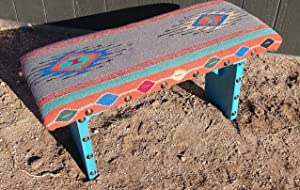 WBE Custom Made Turquoise Bench with Southwestern Design