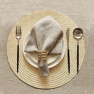 DAPU Lot de 6 serviettes de table en lin 100 % naturel avec ourlet 45 x 45 cm