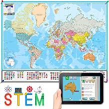 Interactive Laminated World Map for Kids – Geography and Nations – Included Augmented Reality Education App – STEM Toy Lea...