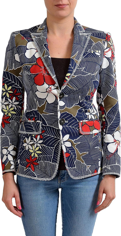 DSQUARED2 Women's Floral Print Two Button Blazer US XS IT 38