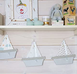 Charming Decorative boat Mobile, Hanging Sail Boats Soft toy Mobile, mint grey cream Sail Boat Design, 9-inch