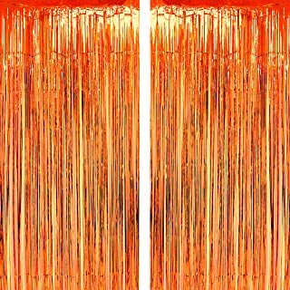 Orange Party Tinsel Foil Fringe Curtains - Fall Thanksgiving Carnival Halloween Construction 1st Birthday Graduation Wedding Party Photo Booth Props Backdrops Decorations