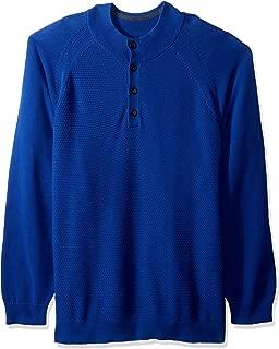 Cutter Men's Soft Textured Yarn Reuben Button Mock Long Sleeve Sweater