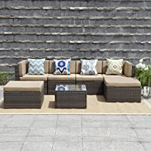 Wisteria Lane Outdoor Patio Furniture Set,7 Piece Rattan Sectional Sofa Couch All Weather Wicker Conversation Set with Ottoma Glass Table Grey Wicker, Coffee Cushions