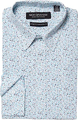 Nick Graham Floral Print CVC Stretch Dress Shirt