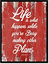 Life Is What Happens While You're Busy Making Other Plans John Lennon Motivation Quote Saying Canvas Print Home Decor Wall Art Gift Ideas, Black Frame, Red, 7