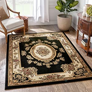 Well Woven Timeless Le Petit Palais Black Traditional Area Rug 3'11
